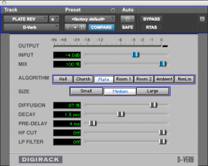 Pro Tools'ta bir reverb plug-in: D-Verb